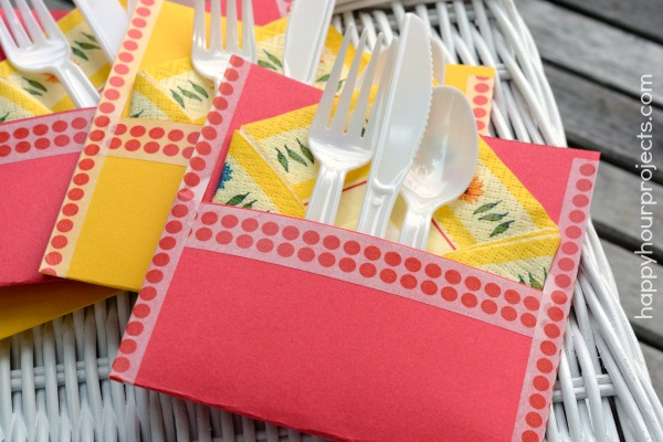 Washi Tape Picnic Silverware Pouch at www.happyhourprojects.com