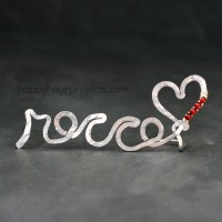 """Rocco's Heart"" Standing Name Wire Form at www.happyhourprojects.com"