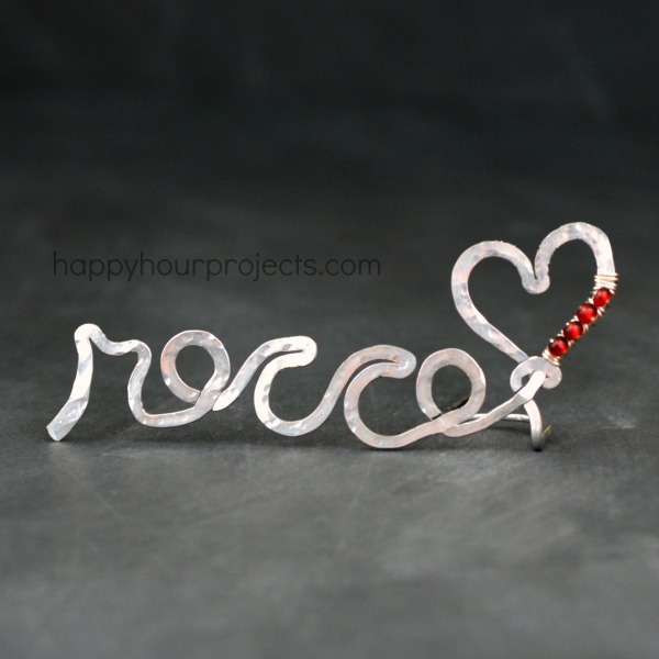 """Rocco's Heart"" Standing Wire Name Form at www.happyhourprojects.com"