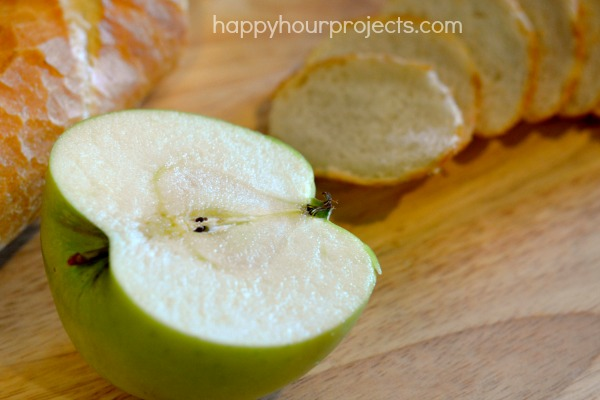 Easy Brie Cheese and Apple Appetizer at www.happyhourprojects.com