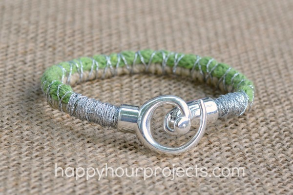 Spiral Clasp Wrapped Cord Bracelet at www.happyhourprojects.com