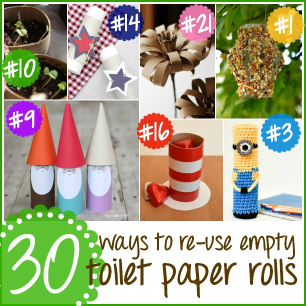 30 Ways To Re-Use Empty Toilet Paper Rolls at www.happyhourprojects.com