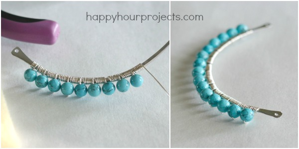 Anthro-Inspired Wire Wrapped Beaded Necklace at www.happyhourprojects.com
