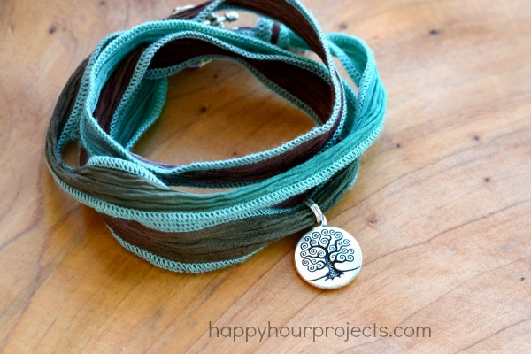 Ultra Easy 2 Knot Ribbon Wrap Bracelet With Charm At Www Hyhourprojects