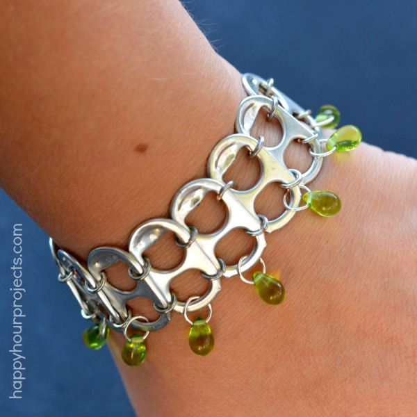 Soda pop tab upcycled bracelet tutorial happy hour projects for Cool things to make out of recycled materials