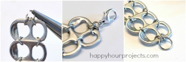 Soda Pop Tab Recycled Bracelet Tutorial at www.happyhourprojects.com