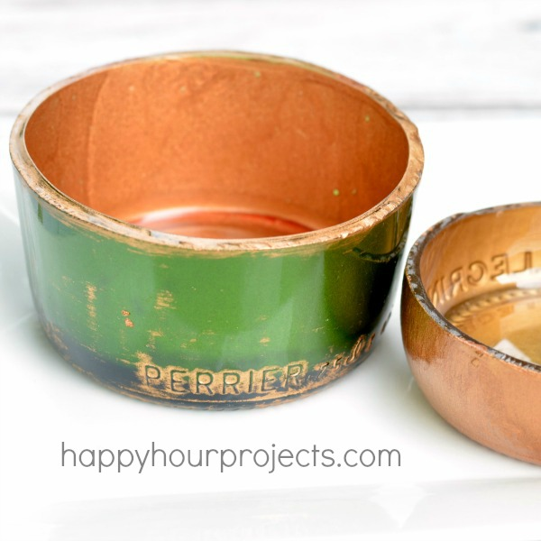 Gold Recycled Bottle Jewelry Dishes at www.happyhourprojects.com