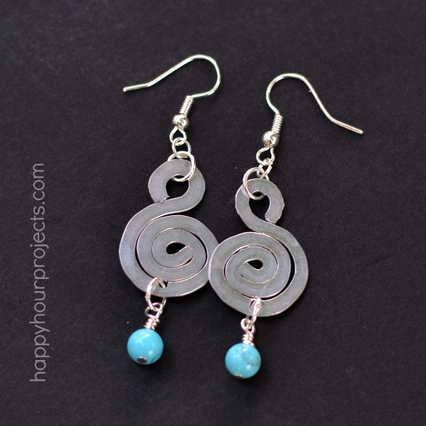 Spiral Hammered Wire Earrings