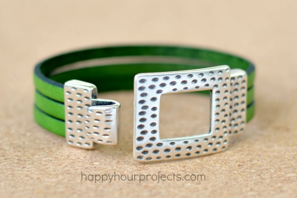 5 Minute Flat Leather Bracelet  at www.happyhourprojects.com