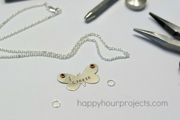 Butterfly Stamped Necklace at www.happyhourprojects.com