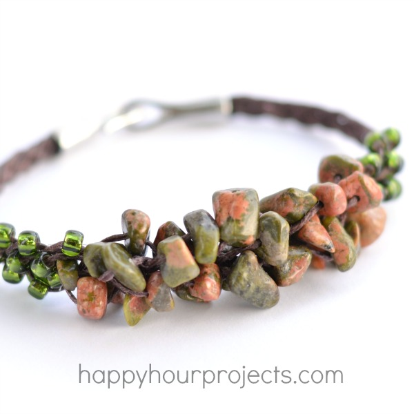 Woven Cluster Bracelet with Stone Chip Beads
