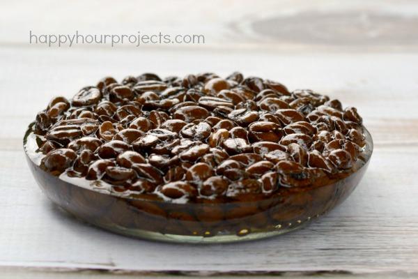 DIY Coffee Bean Resin Trivet at www.happyhourprojects.com