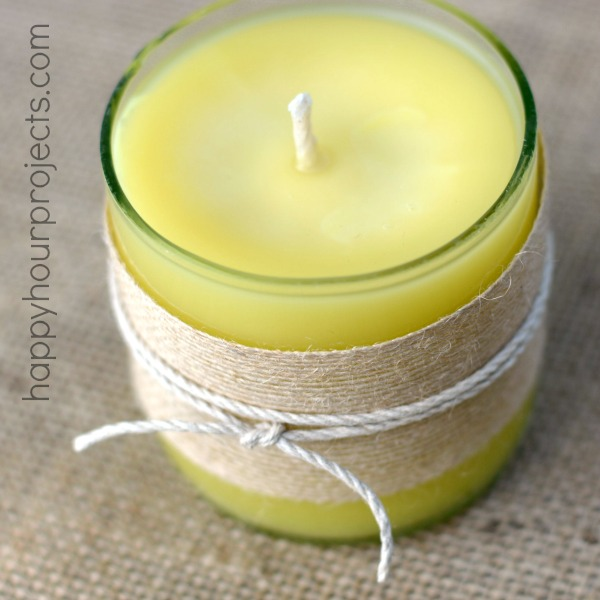 How to Cut Bottles to Make Homemade Beeswax Candles at www.happyhourprojects.com