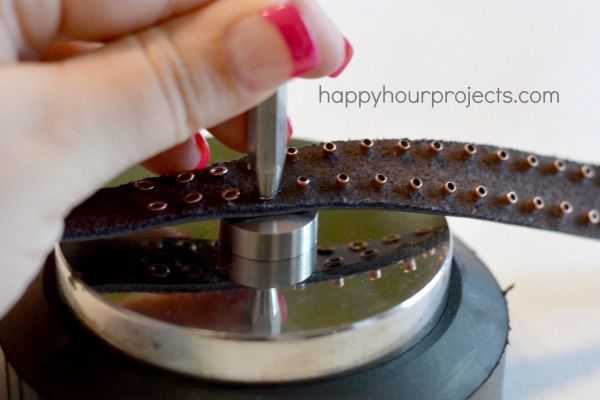 Leather Eyelet Bracelet at www.happyhourprojects.com