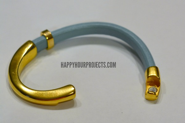 Gold & Leather Curved Clasp Bracelet at www.happyhourprojects.com