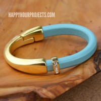 Gold & Leather Curved Clasp Bracelet