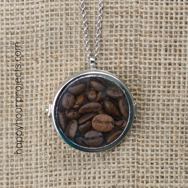 2-Minute Coffee Lover's Glass Locket Necklace at www.happyhourprojects.com