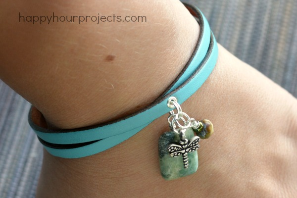 Leather Charm Bracelet at www.happyhourprojects.com