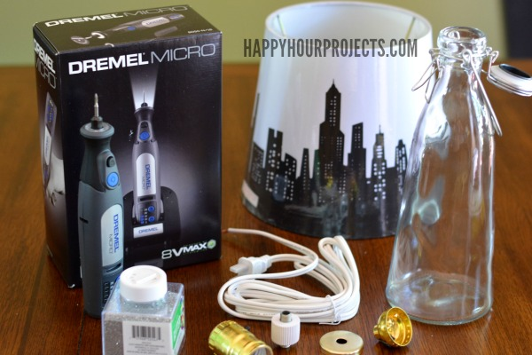 How to Cut Holes In Glass To Make a Recycled Bottle Lamp at www.happyhourprojects.com