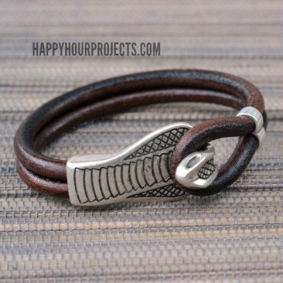 Snake Clasp Leather Bracelet at www.happyhourprojects.com