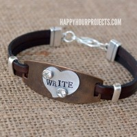 Mixed Media Bracelet: Stamped and Riveted Metal and Leather