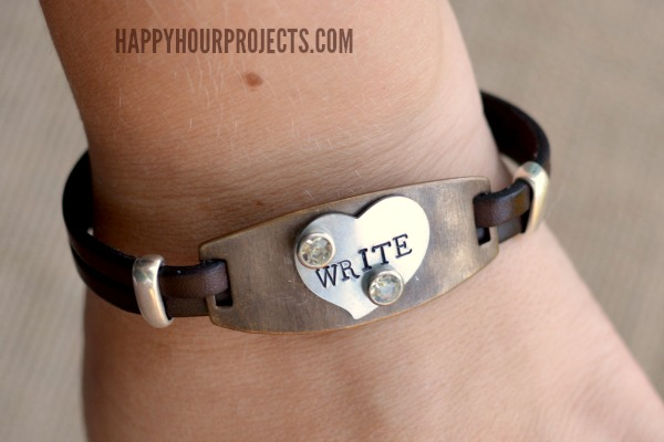 Mixed Media Bracelet: Stamped and Riveted Metal on Leather at www.happyhourprojects.com