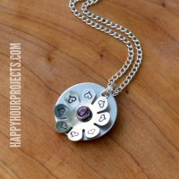 Stamped and Riveted Floral Necklace at www.happyhourprojects.com
