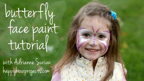 Butterfly Face Paint Tutorial at www.happyhourprojects.com #TulipBodyArt #FacePaintHOA