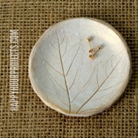 Leaf-Imprinted Polymer Clay Jewelry Dish