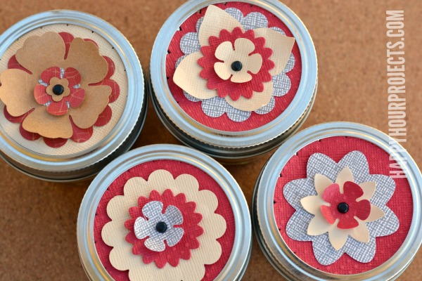 Flower Topped Mason Jar Cheesecakes at www.happyhourprojects.com