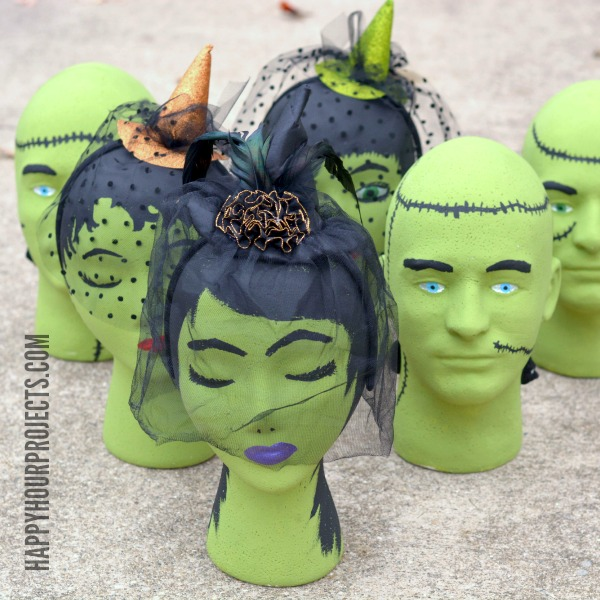 Halloween Kids Game: Foam Head Frankenstein Bowling at www.happyhourprojects.com #MakeItFunCrafts