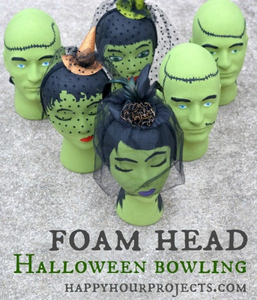 Halloween Kids Game: Foam Head Frankenstein Bowling at www.happyhourprojects.com #MakeItFunCrafts