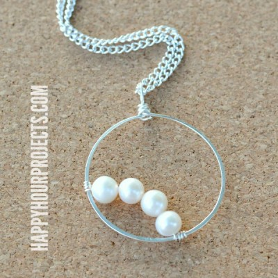 Simple Pearls: Wire Wrapped Frame Pendant