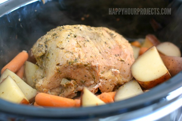 One Dish Slow Cooker Meal Garlic Herb Pork Sirloin With Red Potatoes And