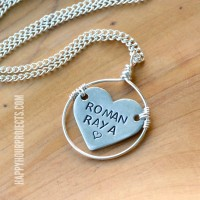 Wire Wrapped Heart Stamped Pendant at www.happyhourprojects.com