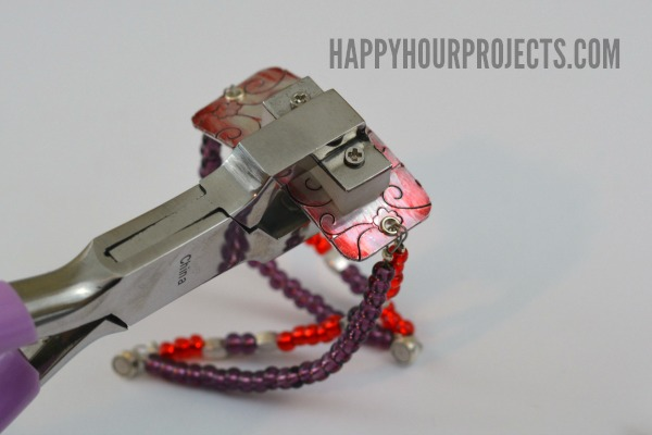 Embossed Beaded Bracelet at www.happyhourprojects.com