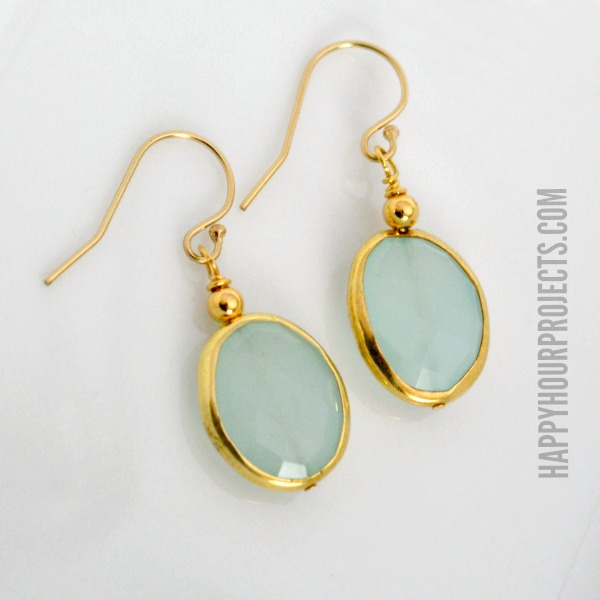 Chalcedony Earrings with Gold Vermeil at www.happyhourprojects.com