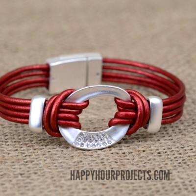Easy Leather Connector Bracelet at www.happyhourprojects.com