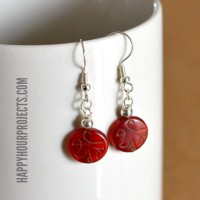 Easy Beaded Dangle Earrings with Prayer Beads at www.happyhourprojects.com