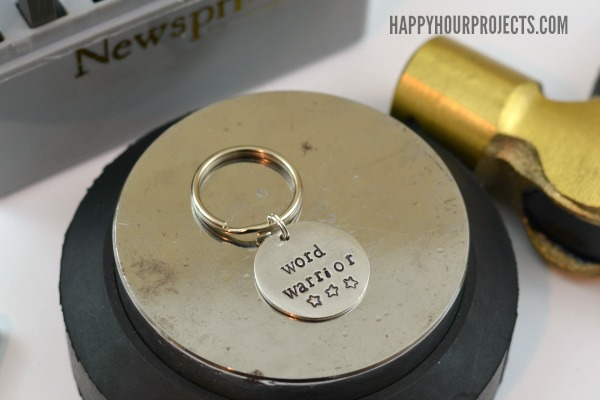 Hand Stamped Key Chain - Gifts for Writers at www.happyhourprojects.com
