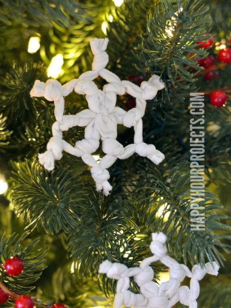 Recycled T-Shirt Snowflake Ornaments at www.happyhourprojects.com