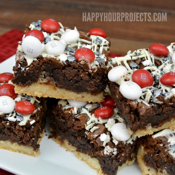 Black & White Peppermint M&M's Brownie Bars at www.happyhourprojects.com