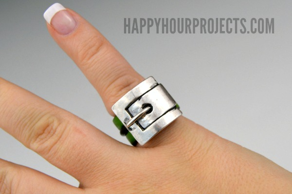 2-Minute DIY: Leather Buckle Ring at www.happyhourprojects.com