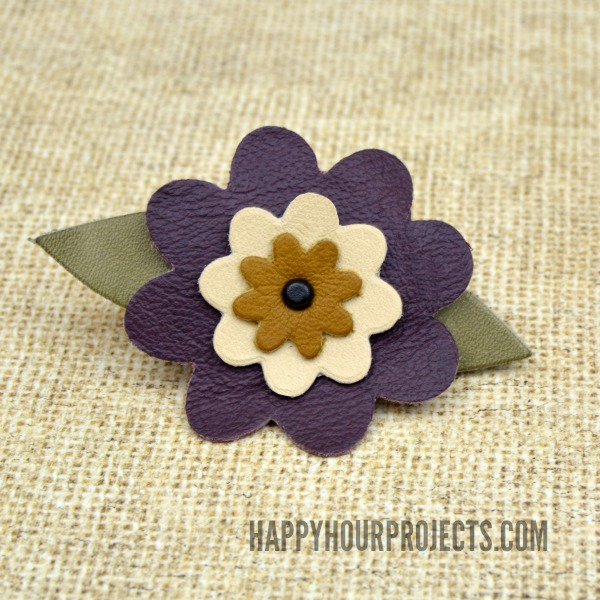 Easy Leather Flower Barrette at www.happyhourprojects.com