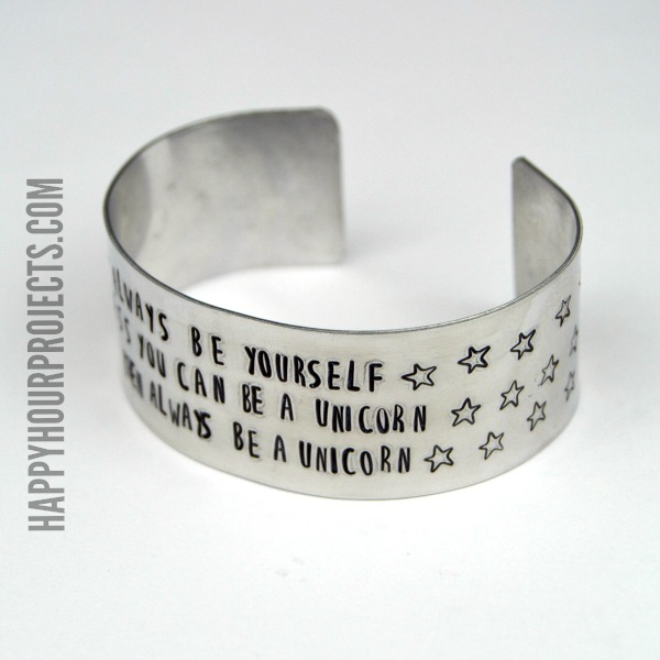 Always Be A Unicorn Stamped Cuff Bracelet at www.happyhourprojects.com