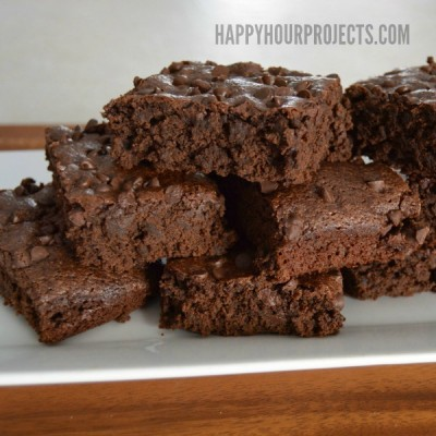 Low Fat Triple Chocolate Brownies at www.happyhourprojects.com #AllWhitesEggWhites
