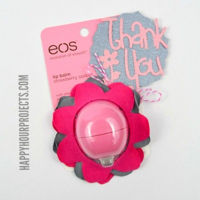 No-Sew EOS Flower Lip Balm Gift at www.happyhourprojects.com