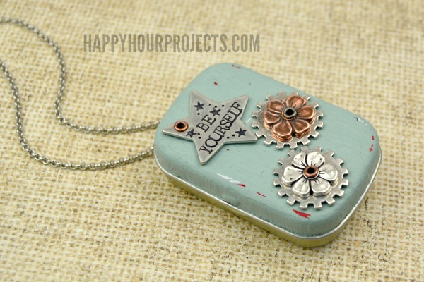 Recycled Tin Music Box Locket Necklace