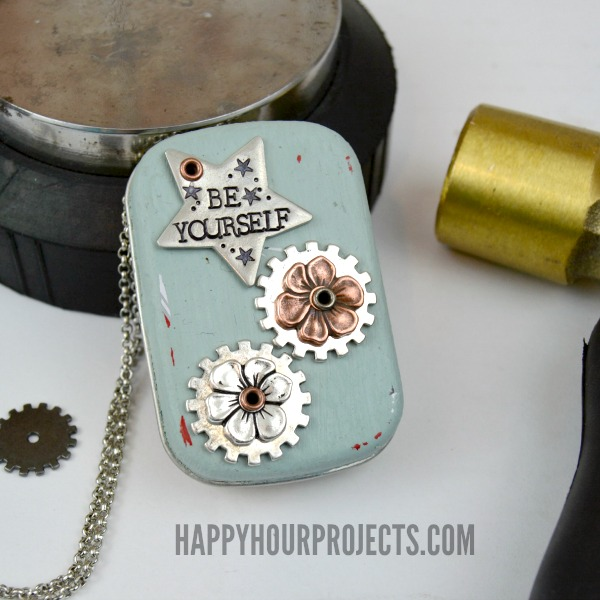Recycled Tin Music Box Locket Necklace at www.happyhourprojects.com