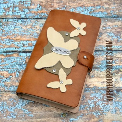 Hand-Stamped DIY Leather Journal at www.happyhourprojects.com